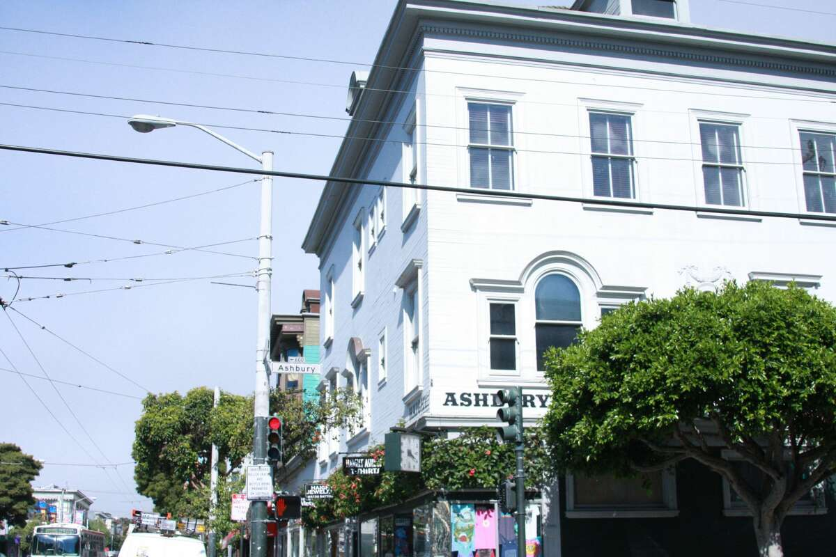 NOW The northwest intersection of Haight and Ashbury Streets as seen in 2017.
