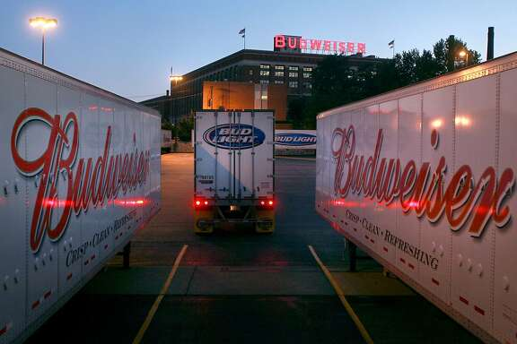 Trailers are selected to carry Anheuser-Busch products to market at the company's St. Louis brewery on Sunday, July 13, 2008. Anheuser Busch Cos. said early Monday, it had agreed to a sweetened $52 billion takeover bid from InBev, creating the world's largest brewer and heading off what was shaping up as an acrimonious fight for the maker of Budweiser and Bud Light beers. (AP Photo/Post-Dispatch, David Carson) ** BELLEVILLE NEWS-DEMOCRAT OUT, EDWARDSVILLE INTELLIGENCER OUT,  THE ALTON TELEGRAPH OUT, MAGS OUT, NO SALES SLOUT* NO SALES , NO MAGS, NO TV