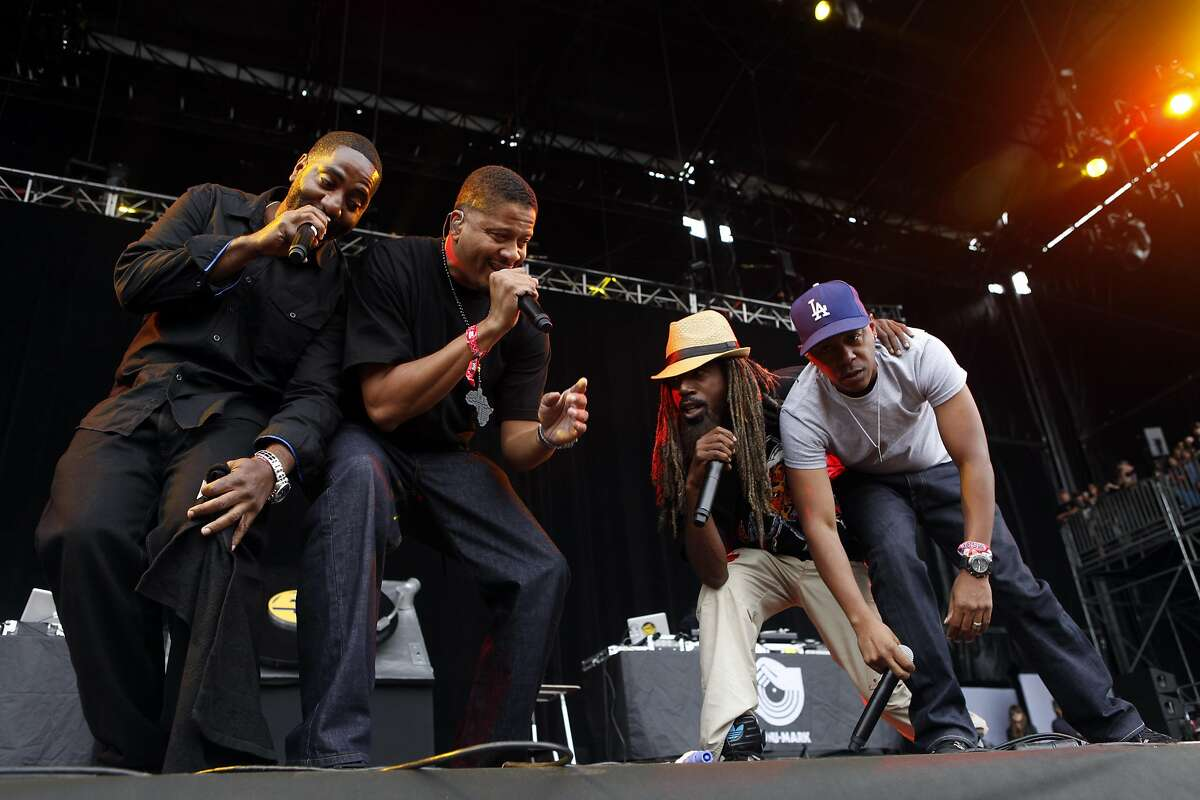 Jurassic 5 preforms at the Outside Land Festival in San Francisco, Calif. on Saturday, August 10, 2013.