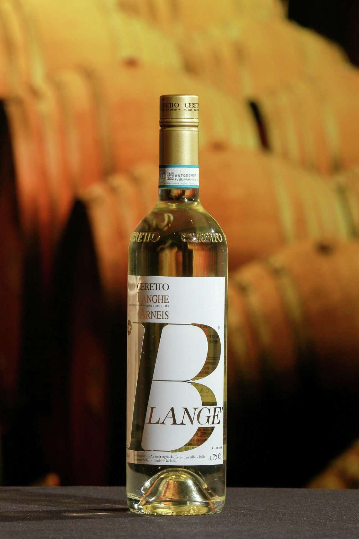Darrin Baumunk's wine of choice, Ceretto Blange Arneis, Langhe, Italy. (For the Chronicle/Gary Fountain, April 25, 2017)