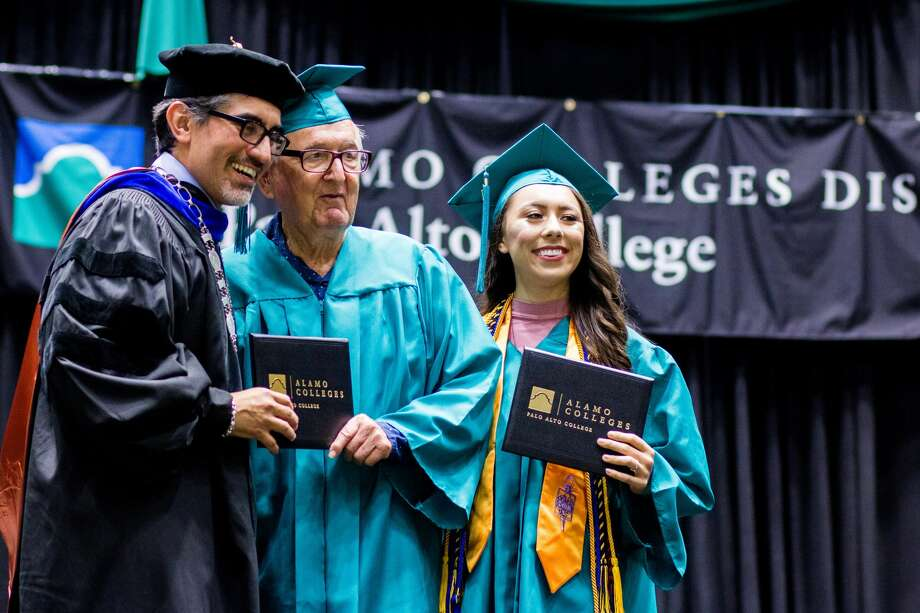 Melanie Salazar and her 83-year-old grandfather Rene Neira both became Palo Alto College graduates on May 20, 2016. Photo: Courtesy, Palo Alto College