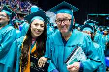 Melanie Salazar and her 83-year-old grandfather Rene Neira both became Palo Alto College graduates on May 20, 2016.
