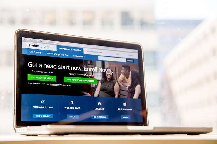 FILE - In this Oct. 6, 2015, file photo, the HealthCare.gov website, where people can buy health insurance, is displayed on a laptop screen in Washington. The Blue Cross Blue Shield Association says health insurers gained a sicker, more expensive patient population through the Affordable Care Act's coverage expansion. Its report offers an early glimpse at customers who have gained coverage in the past couple years. (AP Photo/Andrew Harnik, File)