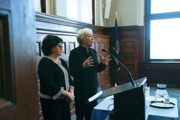 State University of New York Chancellor Nancy Zimpher, right, and State Education Commissioner MaryEllen Elia take questions during a TeachNY news conference on May 2016, in Albany. The new ways the state will rank schools seems to be a big improvement. (AP Photo/Mike Groll)