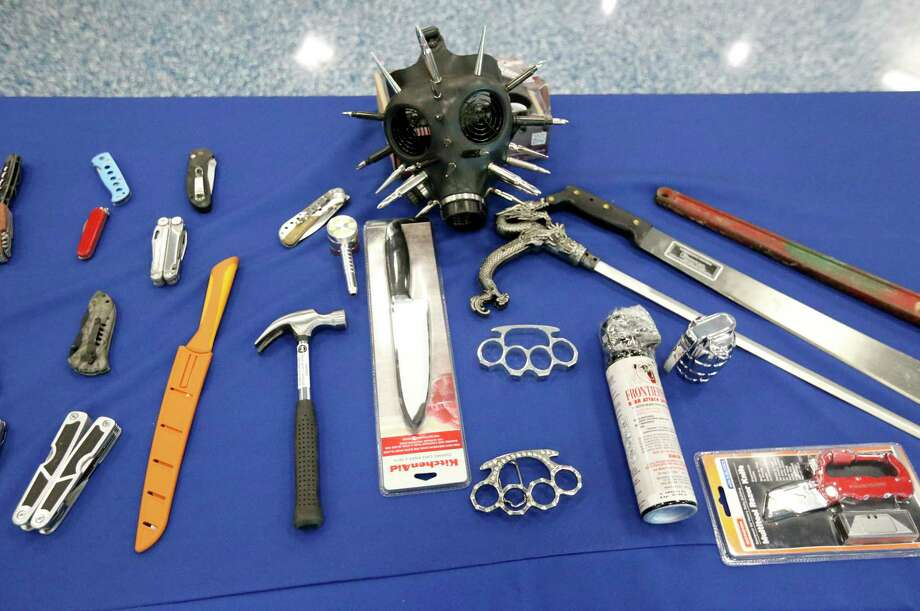 Some banned items found in carry-on luggage at Miami International Airport. Maybe the travelers could have first consulted AskTSA, which answers a variety of questions. Photo: Wilfredo Lee, STF / Copyright 2017 The Associated Press. All rights reserved.