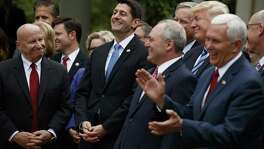 President Donald Trump, accompanied by GOP House members, cheer for Speaker of the House Rep. Paul Ryan after the House pushed through a health care bill. Elected officials who say they follow Jesus failed him with this alternative to Obamacare.
