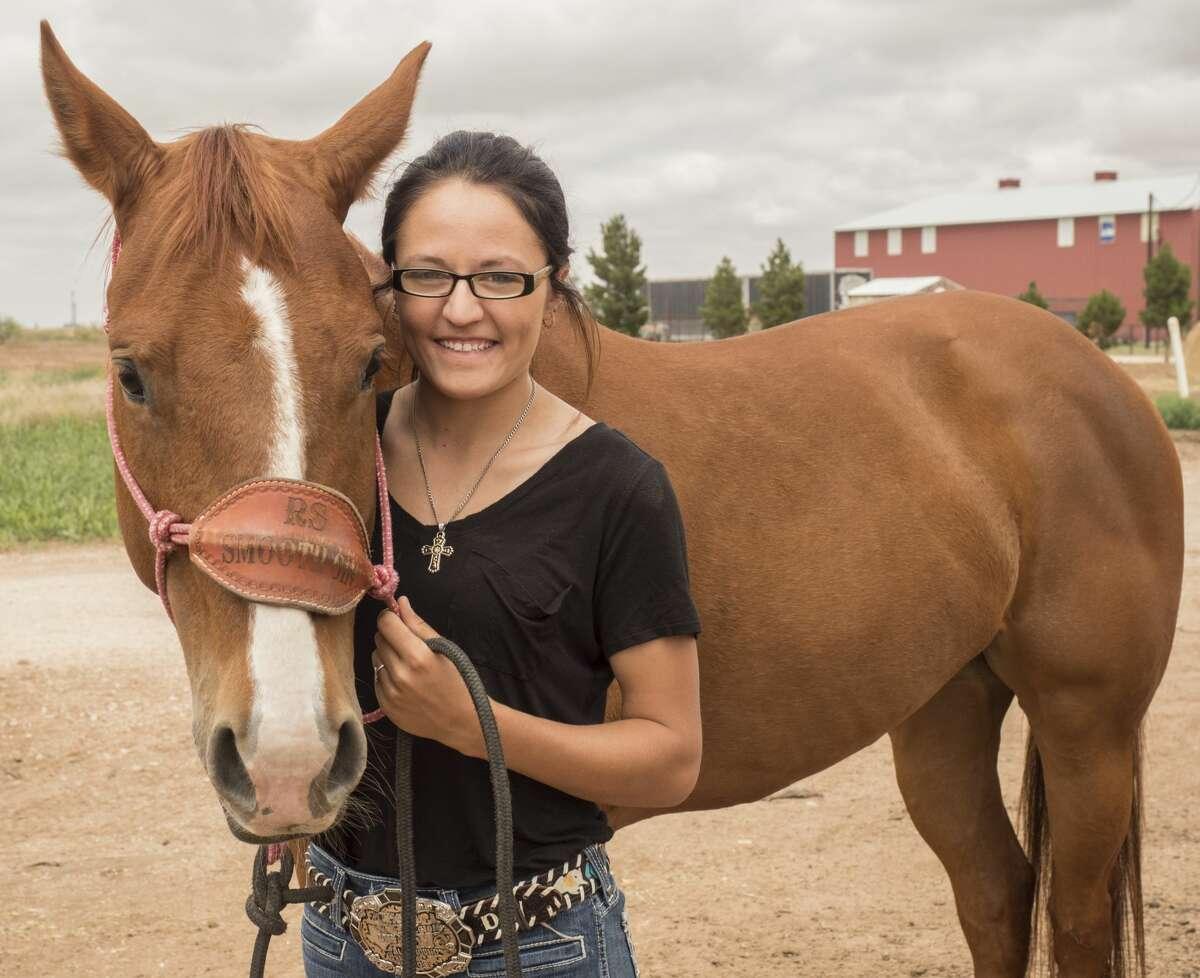 Stanton All-Around Cowgirl Delani Wood with her horse Ginny. 5/22/17. Tim Fischer/Reporter-Telegram