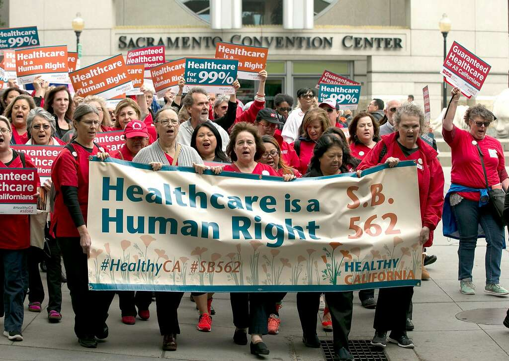 Supporters of single-payer health care march to the Capitol on April 26, 2017, in Sacramento. Photo: Rich Pedroncelli, Associated Press