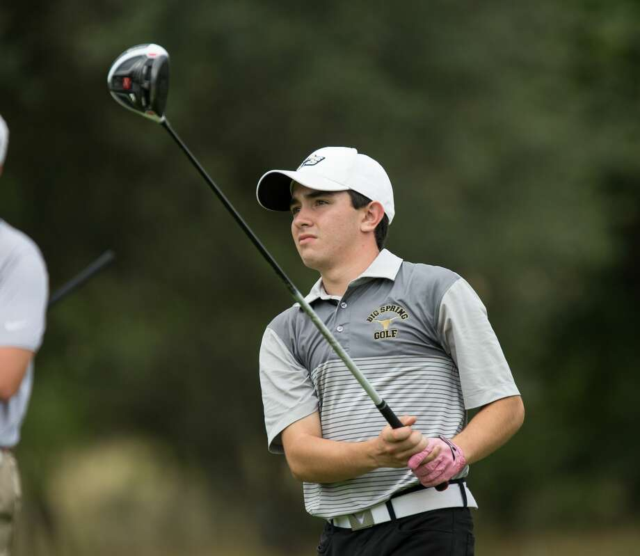 Nolan Dominguez of Big Spring High School watches his tee shot sail down the fairway on No. 11 at Apple Rock Golf Course in Horseshoe Bay, Texas, during the opening round of the Class 4A boys state golf tournament on Monday, May 22, 2017. Photo: Scott W. Coleman
