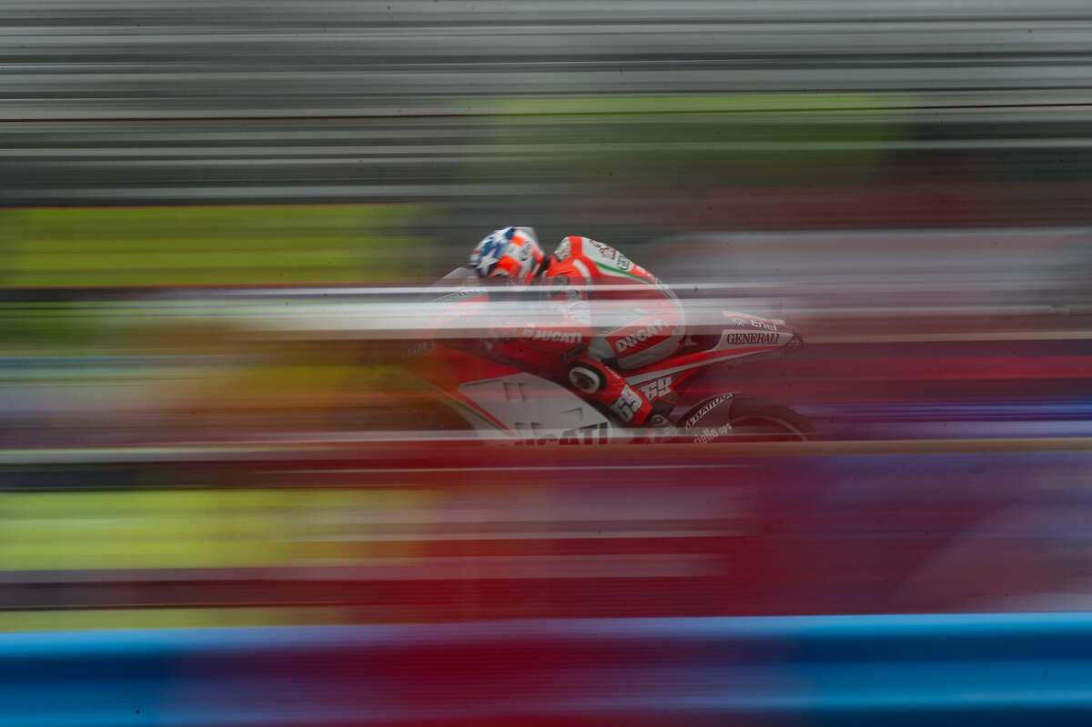 MONTEREY, CA - JULY 28: Nicky Hayden of USA and Ducati Marlboro Team heads down a straight during the qualifying practice of the Red Bull U.S. Grand Prix at Mazda Raceway Laguna Seca on July 28, 2012 in Monterey, California. (Photo by Mirco Lazzari gp/Bongarts/Getty Images)