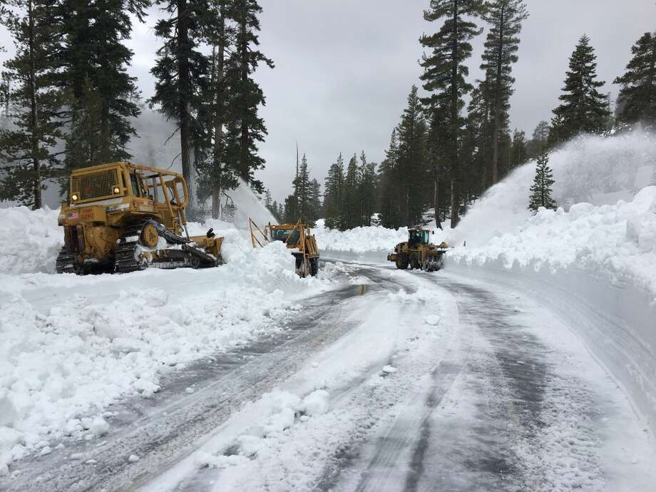 Crews plowing Tioga Road need avalanche training, as conditions are dangerous. Yosemite Park officials hope the road opens late June or early July. Photo: Crews Plowing Tioga Road Need Avalanche Training, As Conditions Are Dangerous. Yosemite Park Officials Hope The Road Opens Late June Or Early July.