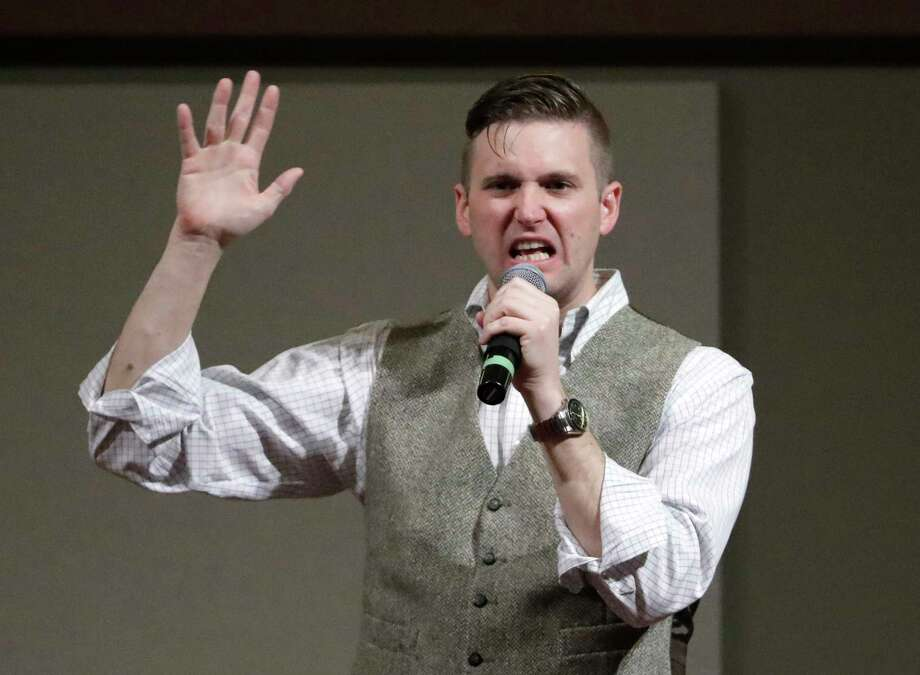 FILE - In this Dec. 6, 2016, file photo, Richard Spencer, who leads a movement that mixes racism, white nationalism and populism, speaks at the Texas A&M University campus in College Station, Texas. Professor C. Christine Fair told The Associated Press on Monday, May 22, 2017, that the Old Town Sport&Health club in Alexandria, Va., informed her that it terminated the membership of Spencer following last Wednesday's confrontation in the gym where she called him a neo-Nazi. (AP Photo/David J. Phillip, File) Photo: David J. Phillip, STF / Copyright 2016 The Associated Press. All rights reserved.