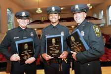 Norwalk Police Officers Mathew Nyquist, Jose Silva and Anthony DePanfilis are the 2016 Officers of the Year. They were presented their plaques during the Norwalk Department of Police Service's annual awards ceremony at City Hall on Monday.