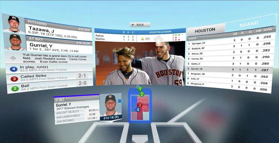 This photo provided by MLB Advanced Media demonstrates 3-D pitch visualization in the company's new At Bat VR app. Baseball games will soon arrive on virtual-reality headsets. Photo: HONS / MLB Advanced Media