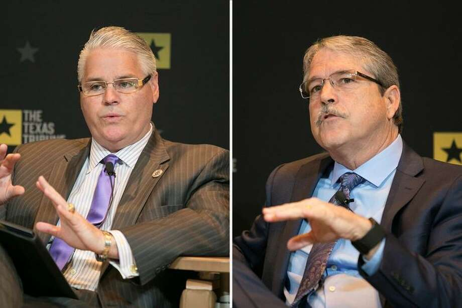 State Rep. Dan Huberty (left), R-Houston, said he was disappointed that the Senate stripped a school finance bill of much of its House provisions. State Sen. Larry Taylor, R-Friendswood, who sponsored the Senate version, said opponents of its school voucher component were over-reacting. Photo: /The Texas Tribune