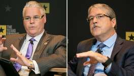 State Rep. Dan Huberty (left), R-Houston, said he was disappointed that the Senate stripped a school finance bill of much of its House provisions. State Sen. Larry Taylor, R-Friendswood, who sponsored the Senate version, said opponents of its school voucher component were over-reacting.