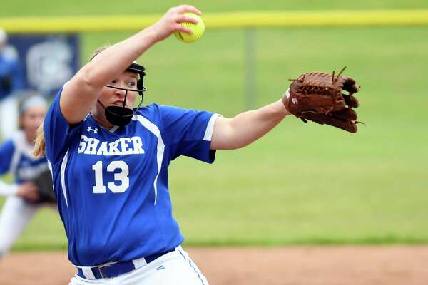 Shaker's Allie Lajeunesse (13) pitches against Columbia during a Section II Class AA quarterfinal high school softball game in East Greenbush, N.Y., Monday, May 22, 2017. (Hans Pennink / Special to the Times Union) ORG XMIT: HP104