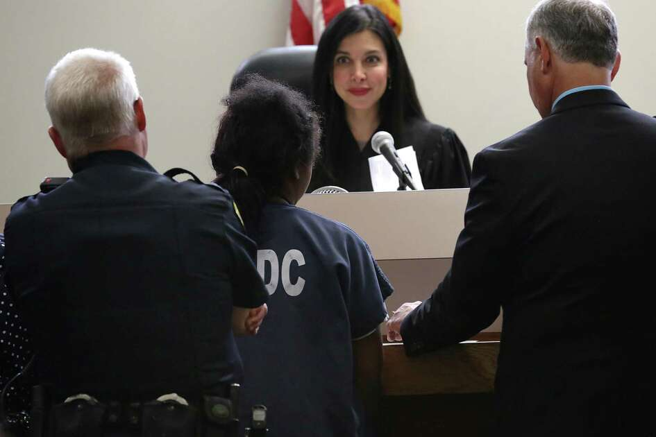 The 14-year-old girl who was seen in a cell-phone video being forcibly detained by several San Antonio police officers, appeared in juvenile court before Judge Arcelia Treviño on May 22, 2017.