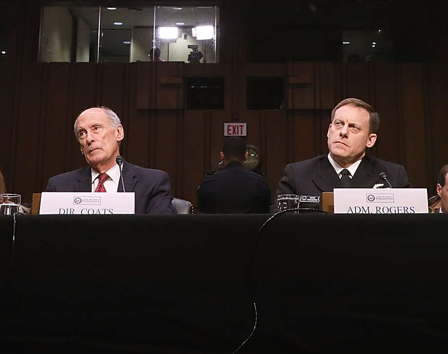 Director of National Intelligence Daniel Coats and National Security Agency Director Adm. Michael Rogers reportedly refused efforst by President Donald trump to get them to deny there was evidence of his campaign's collusion with the Russian government, Photo: Chip Somodevilla, Staff / 2017 Getty Images