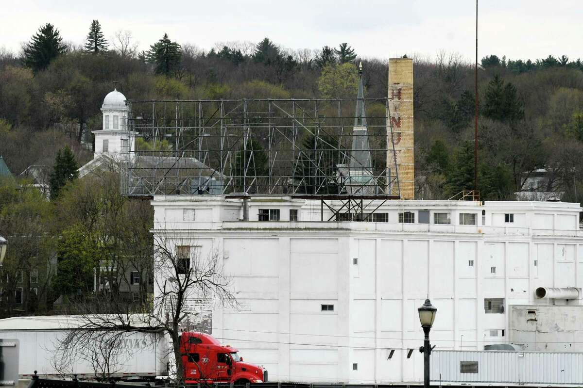 View of the former Beech-Nut plant on Wednesday, April 19, 2017, in Canajoharie, N.Y. EPA contractors are spraying the asbestos contaminated building with a protective encapsulating spray. EPA tests found unsafe levels of asbestos in piles of demolition debris and on portions of the exterior and interior of the former food plant. (Will Waldron/Times Union)