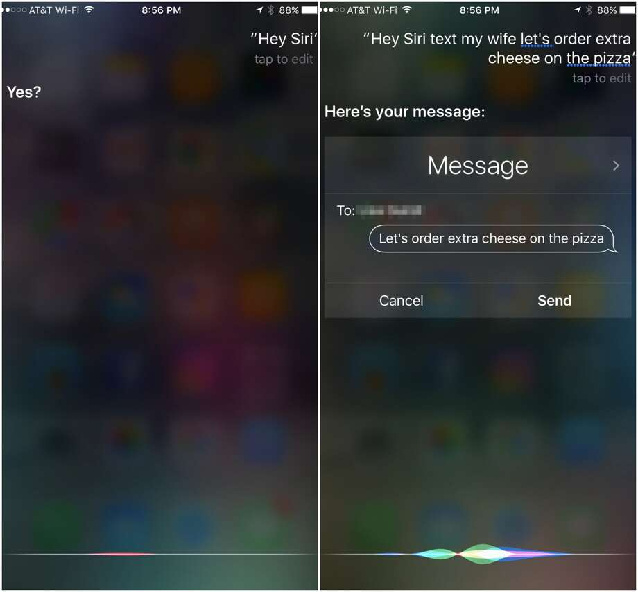 "Say ""Hey, Siri!"" to start the magic. You can also establish relationships in your iPhone's contacts to allow you to call your wife, well, your wife! Photo: Dwight Silverman / Houston Chronicle"