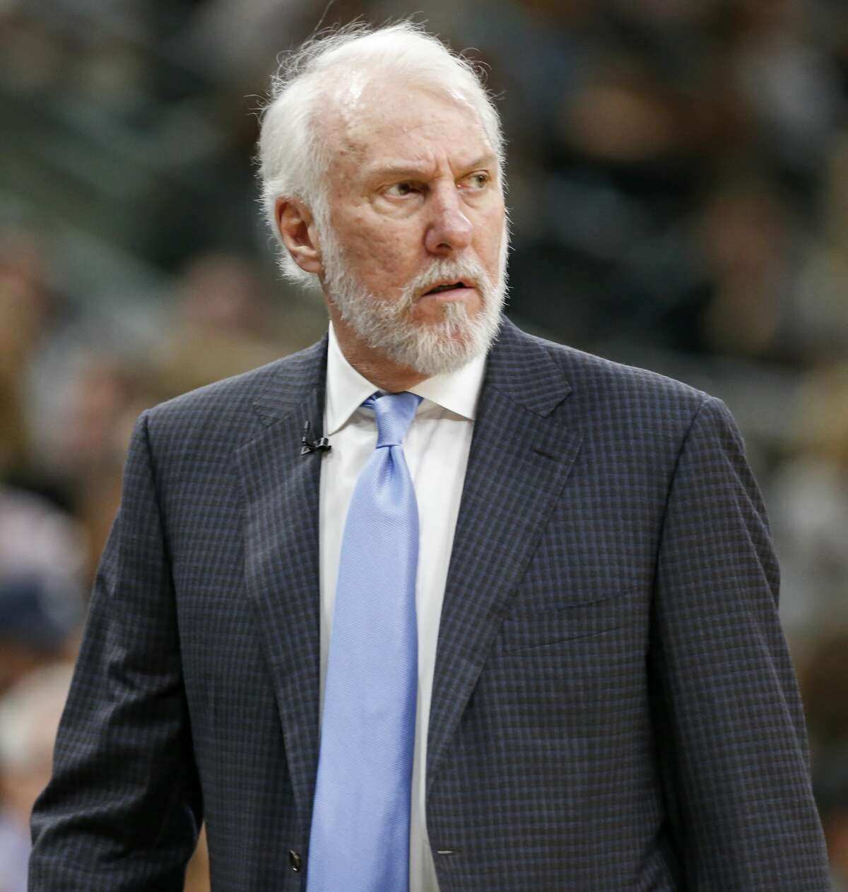 San Antonio Spurs head coach Gregg Popovich watches first half action in Game 4 of the Western Conference Finals against the Golden State Warriors held Monday May 22, 2017 at the AT&T Center.