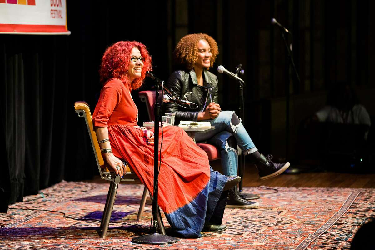 Oakland poet, educator, playwriter and screenwriter Chinaka Hodge, left, and Egyptian-American journalist Mona Eltahawy speak during a 2016 session at the Bay Area Book Festival.
