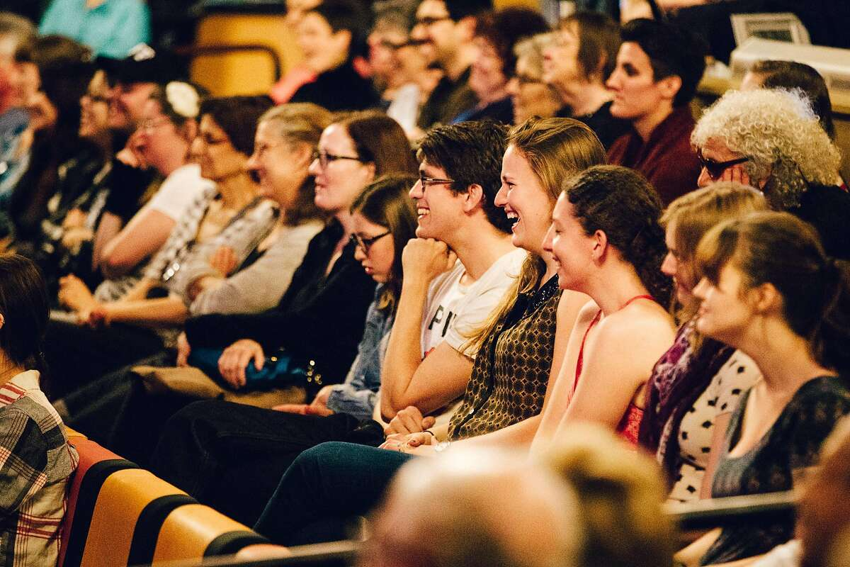 Members of the audience react during the 2016 Bay Area Book Festival.