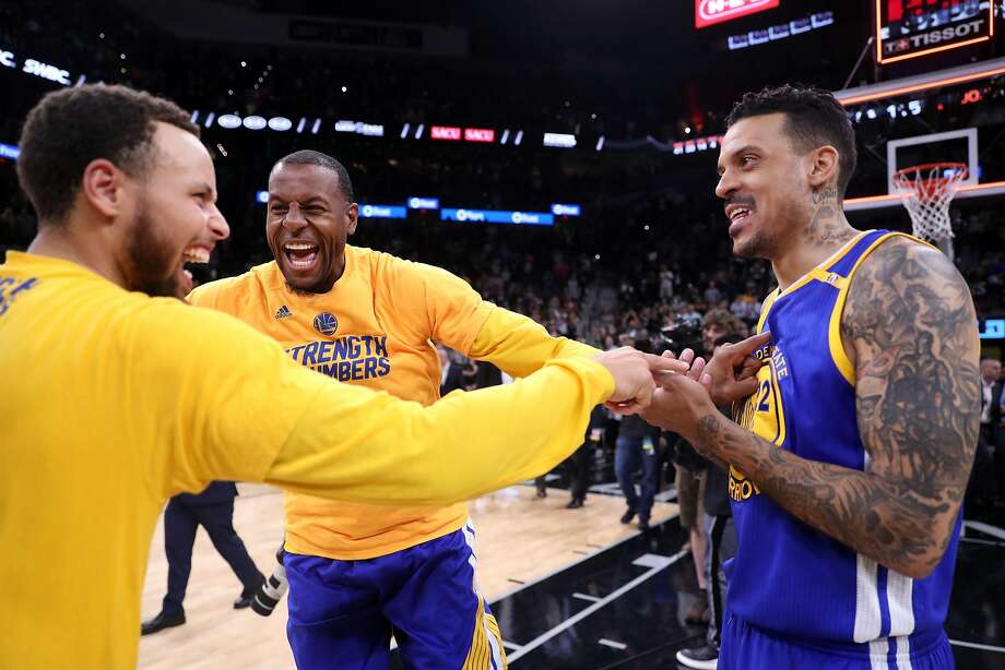 Golden State Warriors' Stephen Curry, Andre Iguodala and Matt Barnes react at end of Warriors' 129-115 win over San Antonio Spurs during Game 4 of NBA Western Conference Finals at AT&T Center in San Antonio, Texas, on Monday, May 22, 2017. Photo: Scott Strazzante / The Chronicle