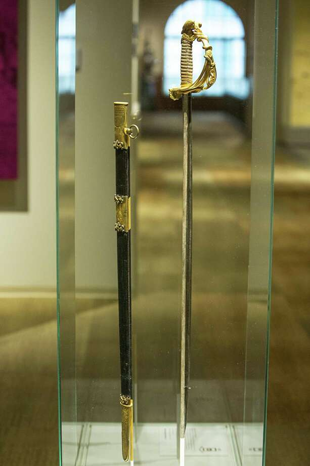 The ornate Santa Anna presentation sword at the Briscoe Western Art Museum in downtown San Antonio once belonged to the infamous victor of the Battle of the Alamo, though he received the sword more than a decade after the historic siege. Photo: Federica Valabrega For The San Antonio Express-News / © Federica Valabrega
