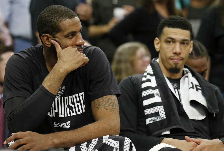 Spurs forward LaMarcus Aldridge (left) and guard Danny Green sit dejected on the bench late in Game 4 of the Western Conference finals against the Golden State Warriors on May 22, 2017 at the AT&T Center. Photo: Edward A. Ornelas /San Antonio Express-News / © 2017 San Antonio Express-News