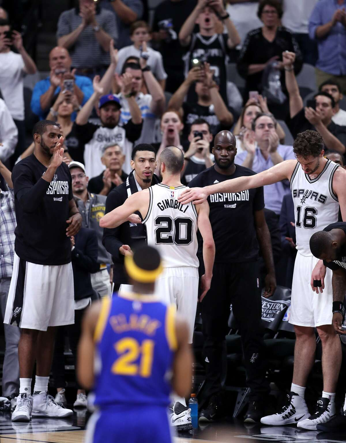San Antonio Spurs' Manu Ginobili exits game late in 4th quarter of Golden State Warriors' 129-115 win during Game 4 of NBA Western Conference Finals at AT&T Center in San Antonio, Texas, on Monday, May 22, 2017.