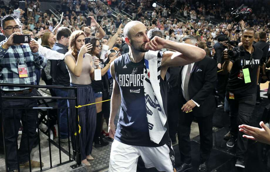 Spurs' Manu Ginobili walks off the court after game four of the Western Conference finals against the Golden State Warriors at the AT&T Center on May 22, 2017. The Warriors won 129-115. Photo: Jerry Lara /San Antonio Express-News / © 2017 San Antonio Express-News