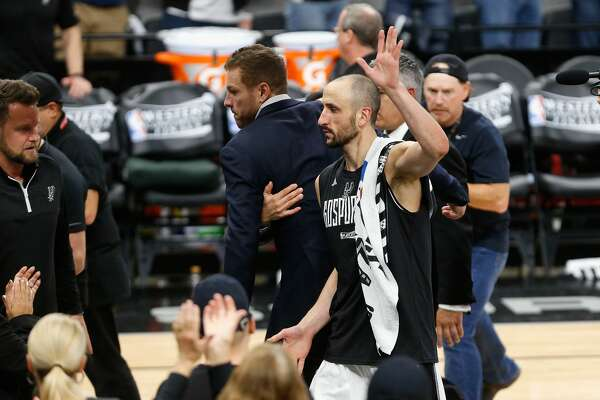 SAN ANTONIO, TX - MAY 22:  Manu Ginobili #20 of the San Antonio Spurs waves as he leaves the court after the Golden State Warriors defeated the San Antonio Spurs 129-115 in Game Four of the 2017 NBA Western Conference Finals at AT&T Center on May 22, 2017 in San Antonio, Texas. The Golden State Warriors defeat the San Antonio Spurs 4-0 in the Western Conference Finals to advance to the 2017 NBA Finals. NOTE TO USER: User expressly acknowledges and agrees that, by downloading and or using this photograph, User is consenting to the terms and conditions of the Getty Images License Agreement.  (Photo by Ronald Cortes/Getty Images)