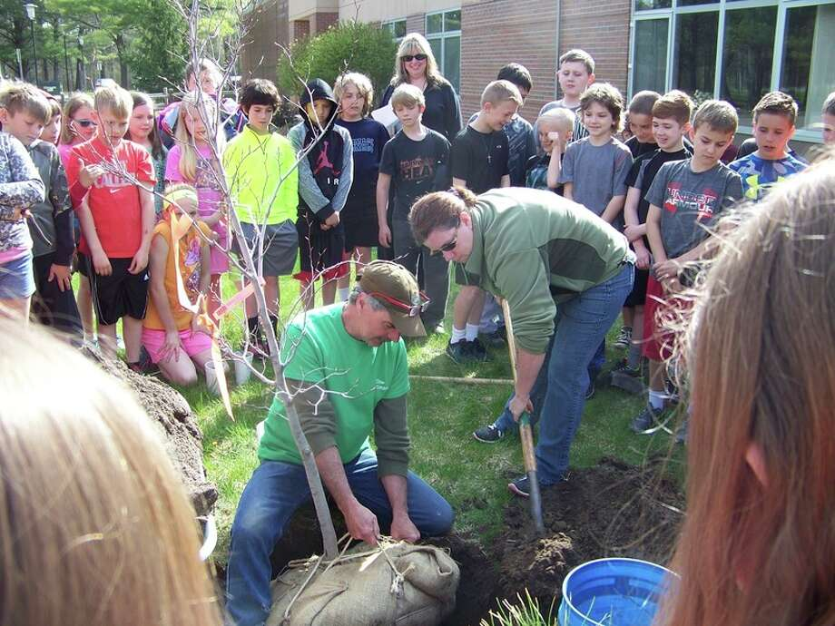 Pine River Elementary School 4th grade students learn about Arbor Day.