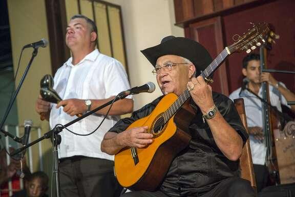 """Eliades Ochoa of the Buena Vista Social Club appears during """"Buena Vista Social Club: Adios."""""""