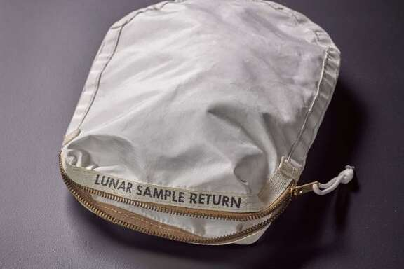 """""""Apollo 11 Contingency Lunar Sample Return Bag"""" was Used by Neil Armstrong on Apollo 11 to bring back the very  first pieces of the moon ever collected – traces of which remain in the bag. In July 2017 the bag will go up for auction at Sotheby's New York, which expects a price between $2 million and $4 million. (Courtesy of Sotheby's)"""