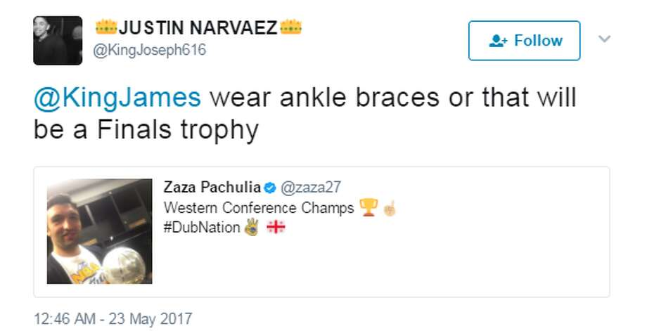 @KingJoseph616: @KingJames wear ankle braces or that will be a Finals trophy Photo: Twitter.com