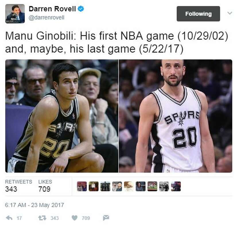 @darrenrovell: Manu Ginobili: His first NBA game (10/29/02) and, maybe, his last game (5/22/17)