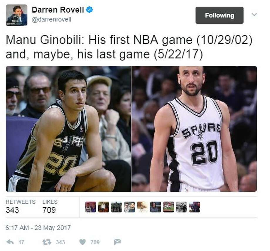 @darrenrovell: Manu Ginobili: His first NBA game (10/29/02) and, maybe, his last game (5/22/17) Photo: Twitter Screenshots