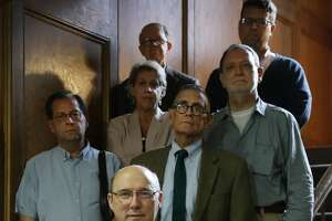 John Hittinger, foreground, and other professors at the University of St. Thomas, gathered to strategize, Monday, May 22, 2017, as the philosophy department is being considered for reorganization and possible program elimination by administrators.  ( Karen Warren / Houston Chronicle )