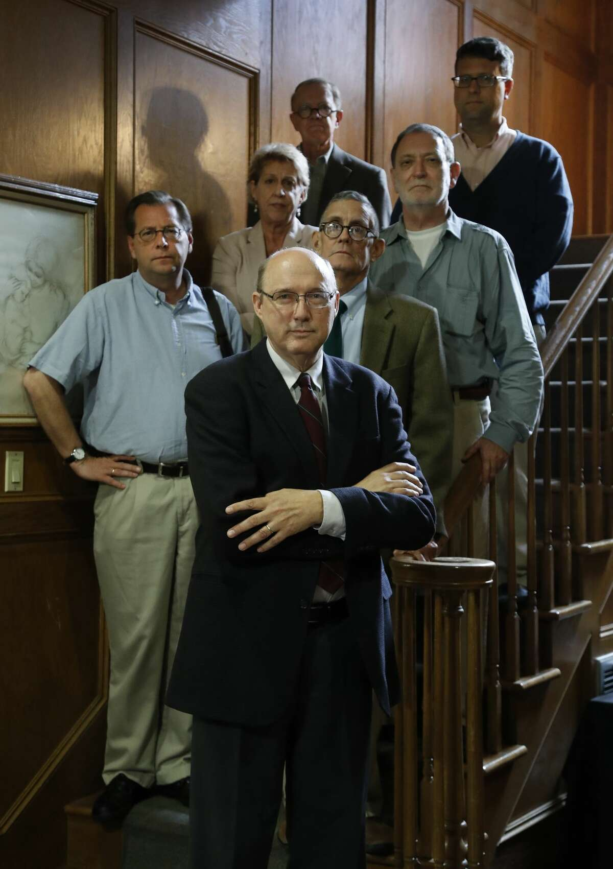 John Hittinger, foreground, and other philosophy professors at the University of St. Thomas, gathered to strategize, Monday, May 22, 2017, as their department is being considered for reorganization and possible program elimination by administrators. ( Karen Warren / Houston Chronicle )
