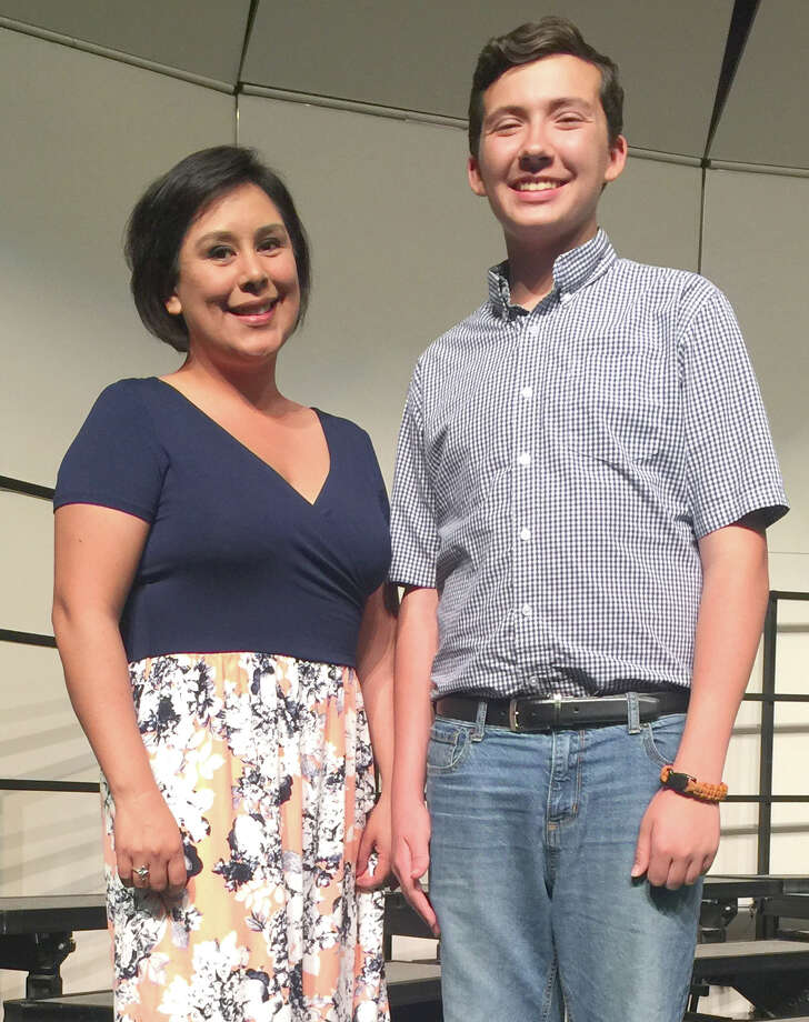 Coronado Middle School student Timothy Franklin was selected to the 2017 Texas Choral Directors Association (TCDA) Middle School Honor Choir. He is shown with Leslie Delgado, Coronado choral director.
