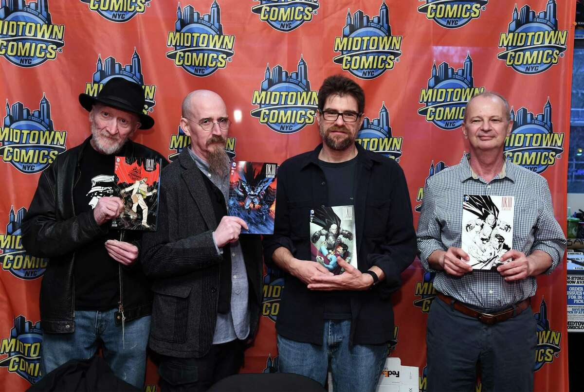 Bring on the Bat-guys! (L-R) writers Frank Miller and Brian Azzarello and artists Andy Kubert and Klaus Janson are the comic talents behind