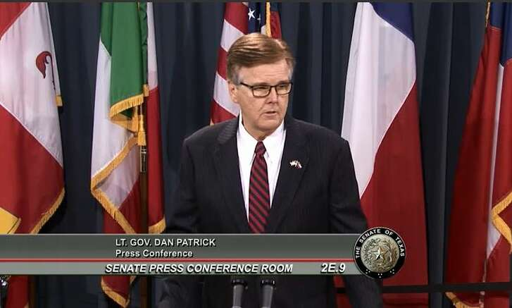 Lt Gov. Dan Patrick made an untenable claim about homeowner savings in remarks to reporters May 17, 2017 (screen shot).
