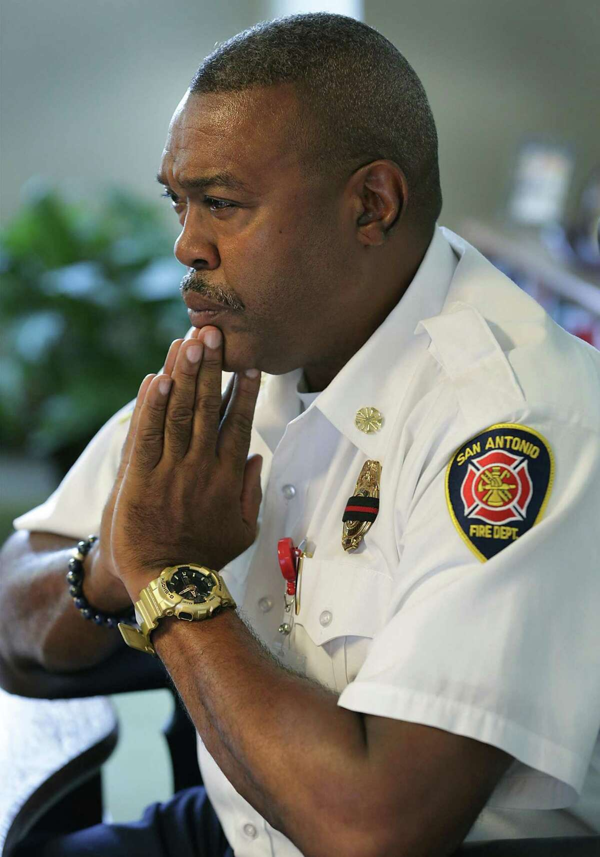 San Antonio Fire Chief Charles Hood discusses the passing of firefighter Scott Deem on Tuesday.