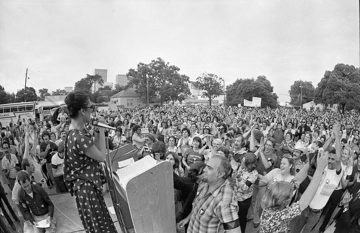In this photo: Torres address the 3,000-strong crowd in 1977 at a rally to protest Anita Bryant's performance in downtown Houston. The rally began about 8 p.m. in the parking lot of The Depository, a bar at 401 McGowen and Bagby.