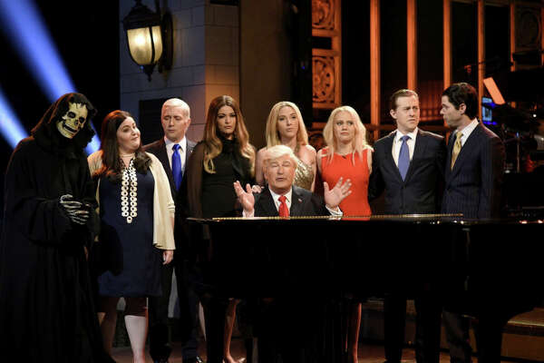 """Saturday Night Live's"" season finale cold open, featuring parodies of Trump and those in his orbit."