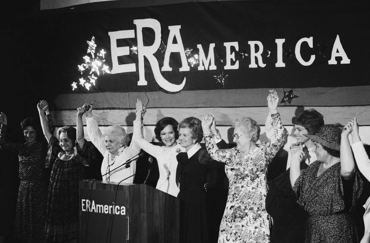 In Houston to attend the National Women's Conference in 1977, a group of some of the most well-known women in America appears at fundraiser to support the campaign for the Equal Rights Amendment. They are (L-R): Betty Friedan, Liz Carpenter, First Lady Rosalynn Carter, former first lady Betty Ford, Elly Peterson, Jill Ruckelshaus, and Bella Abzug.
