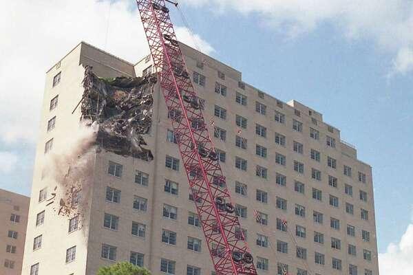 Demolition work begins on the Shamrock Hilton, May 31, 1987.